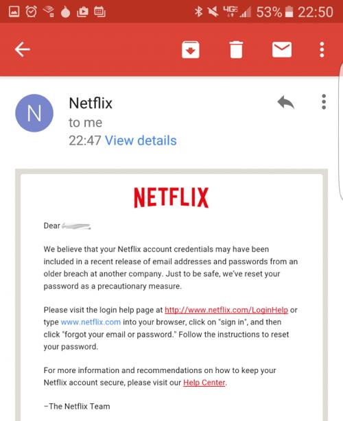 Netflix waarschuwing hergebruik wachtwoorden