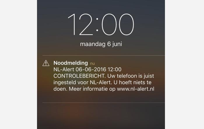 NL-Alert controlebericht op 6 juni