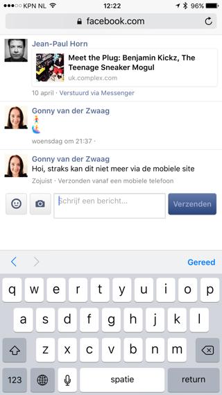 Facebook Messenger via mobiele website