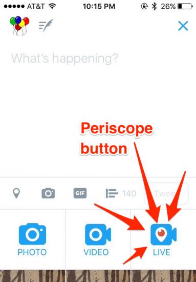 Periscope-knop in de Twitter-app laat je live gaan.