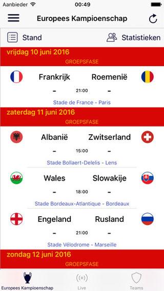 EK 2016 app voor België
