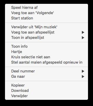 Aantal malen afgespeeld van een nummer opnieuw instellen in iTunes.