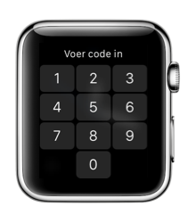 Pincode invoeren op een Apple Watch.