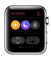 Apple Watch in vliegtuigmodus en Niet storen.