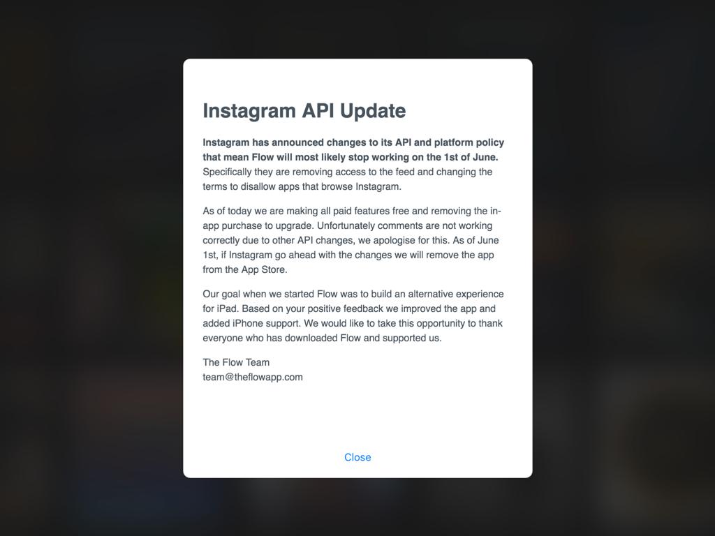 Flow voor Instagram op de iPad.