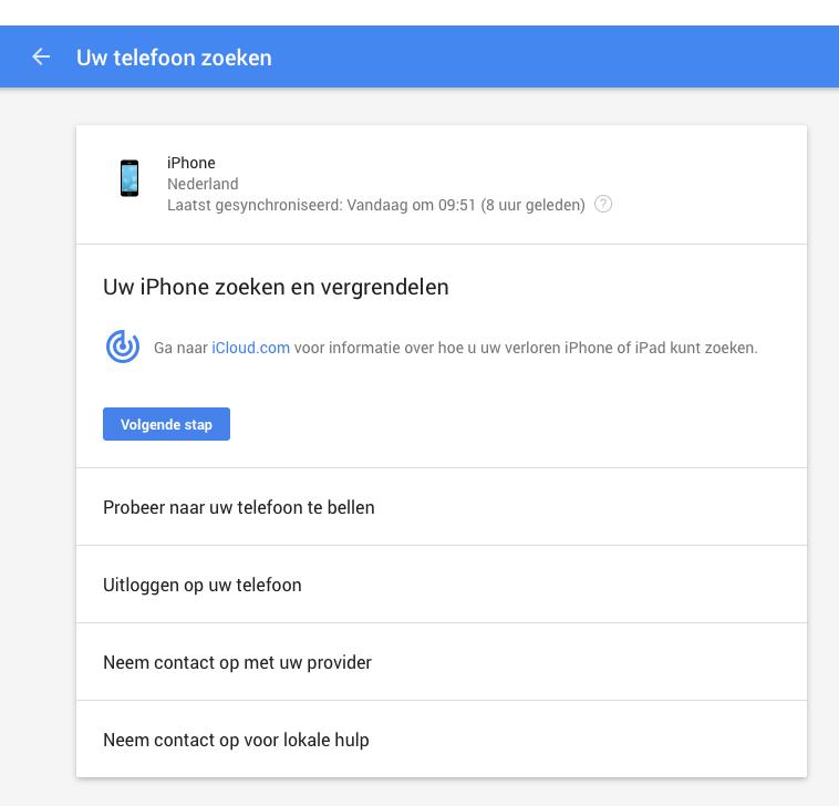 Telefoon kwijt, Google helpt met zoeken