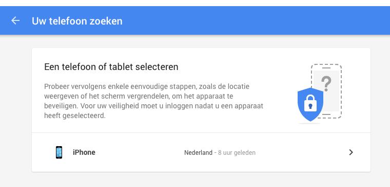 Google Mijn Account: zoekgeraakte iPhone