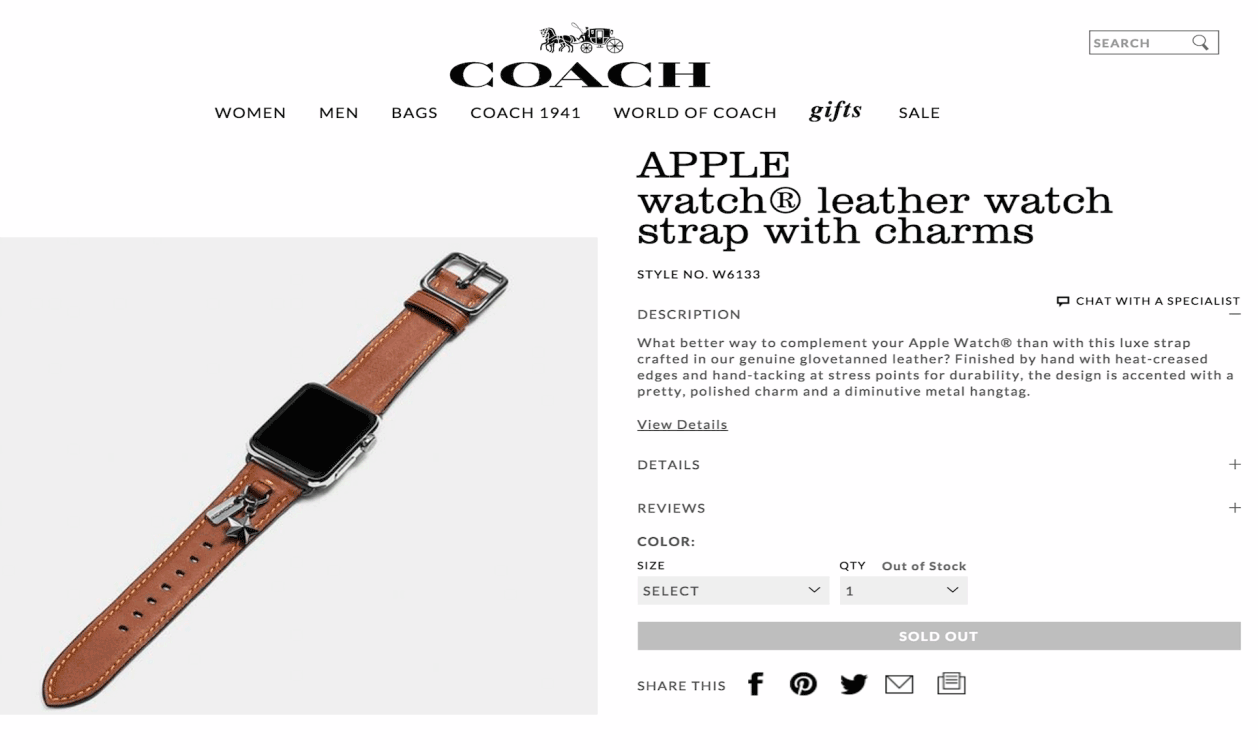 Coach lederen Apple Watch-bandje