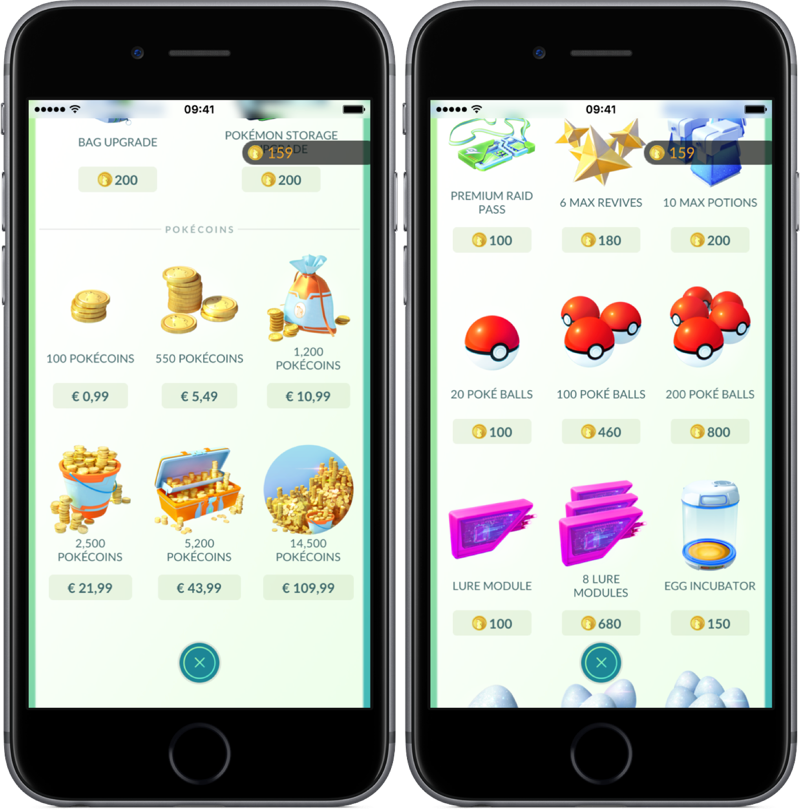 In-game Shop in Pokémon Go.