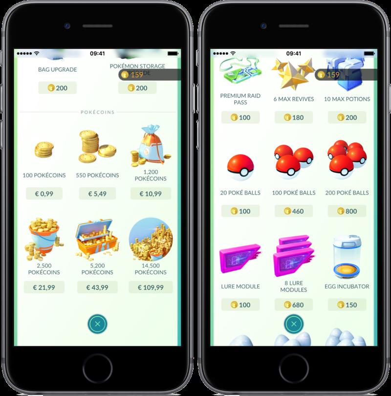 In-game Shop in Pokémon Go.