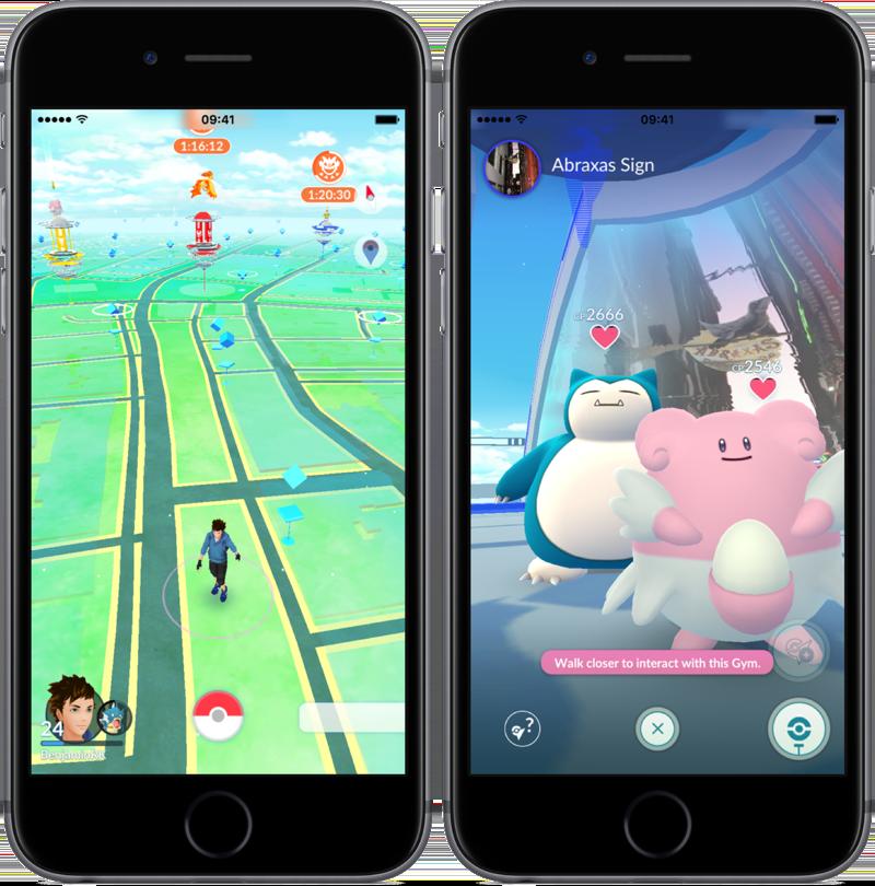 Gyms in 2017 in Pokémon Go.