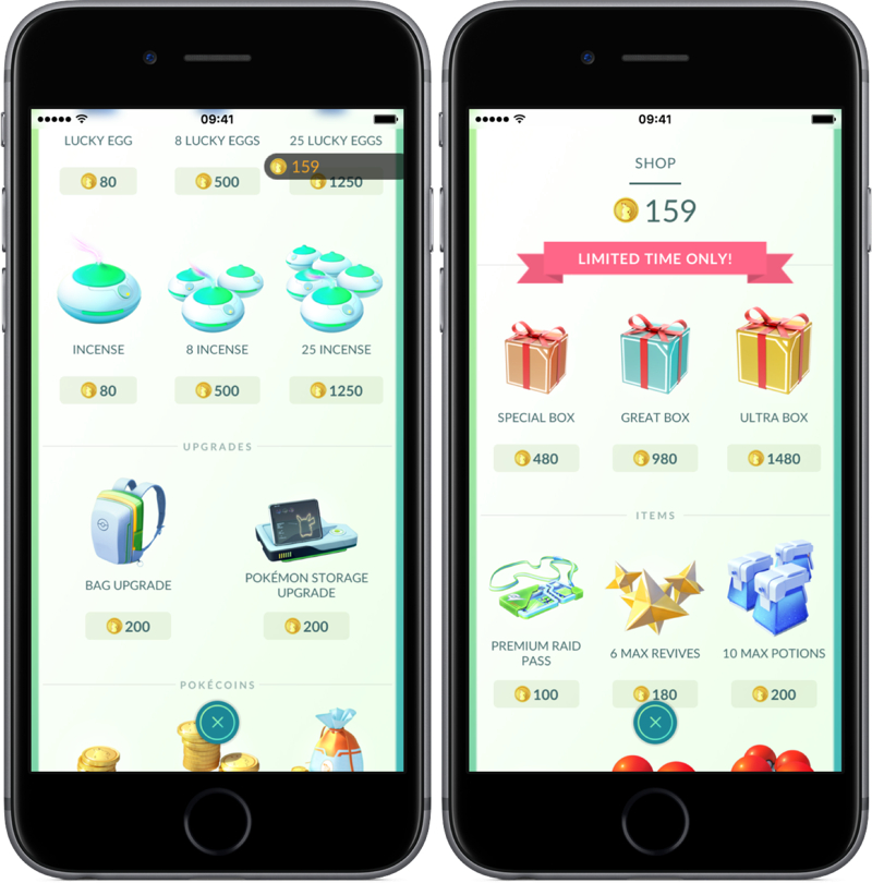 Incences en speciale pakketten in Pokémon Go Shop.