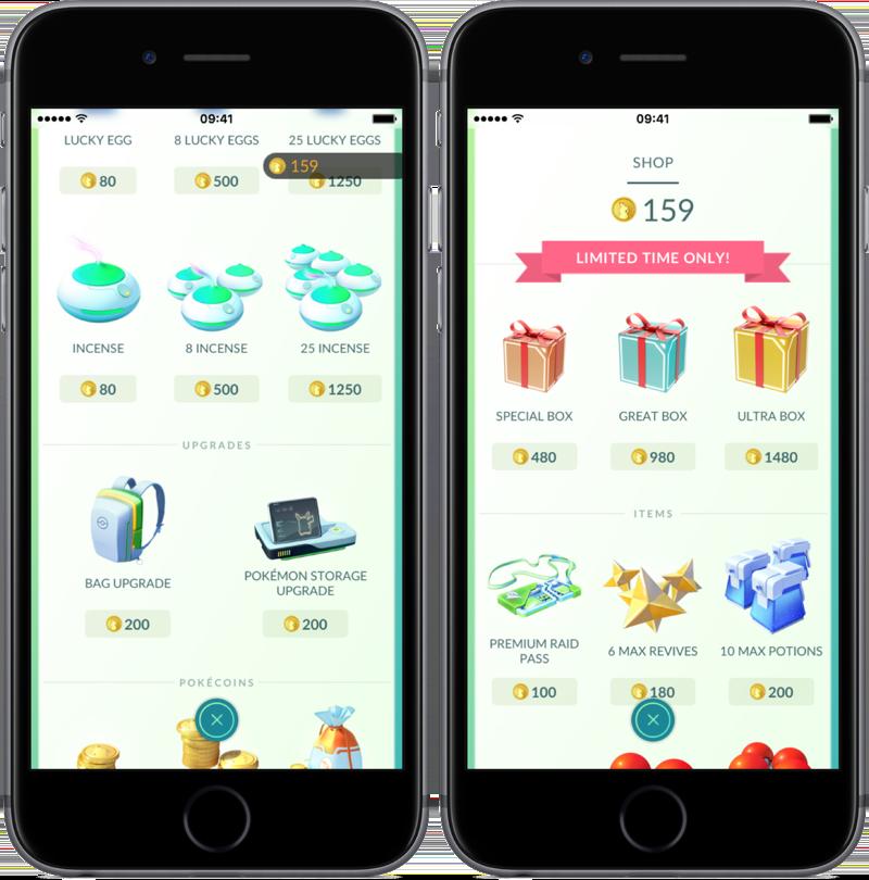 Incences en speciale pakketten in Pokémon Go Shop.