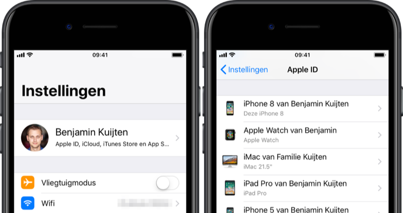Gekoppelde Apple ID apparaten op de iPhone.