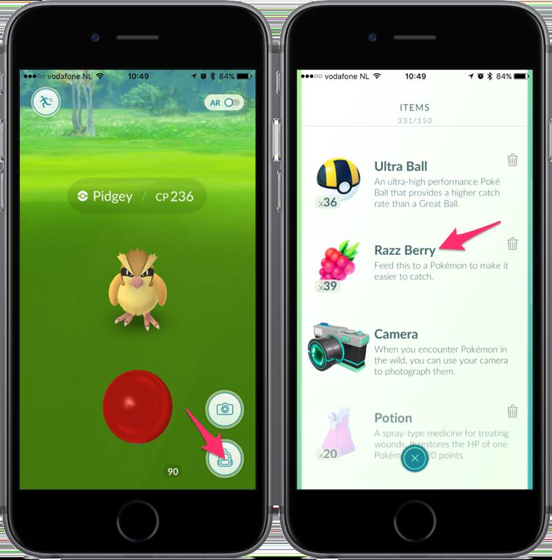 Pokémon Go Razz Berry gebruiken.