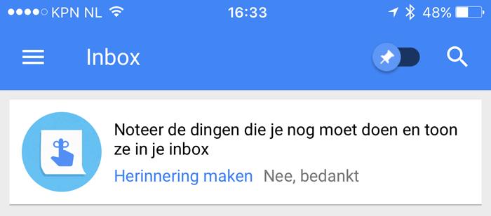 Google Inbox: herinneringen maken