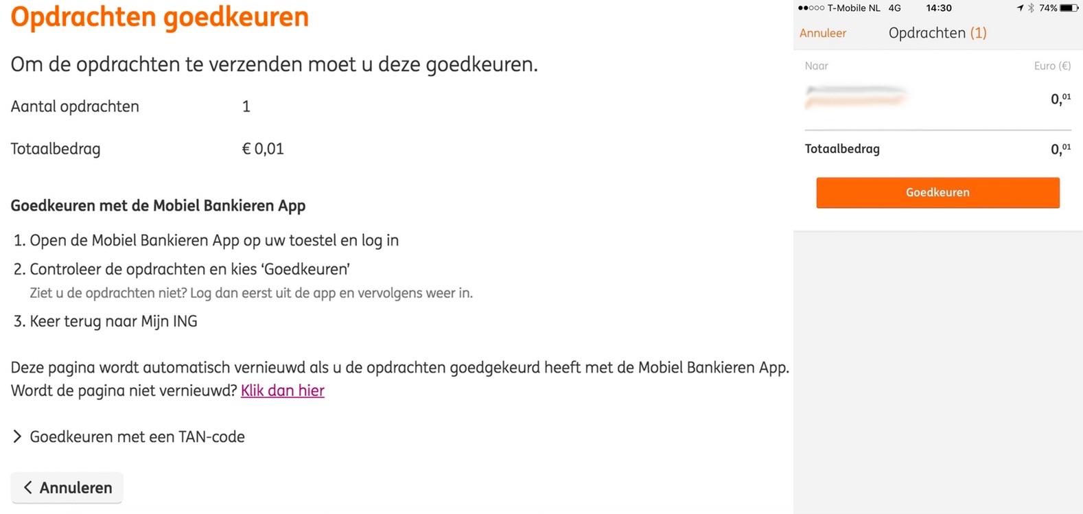 ING betaling versturen met Mobiel Bankieren.