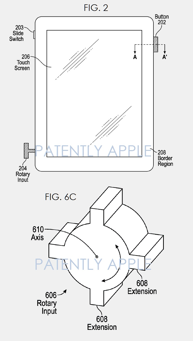 Digital Crown op een iPad in een patent.