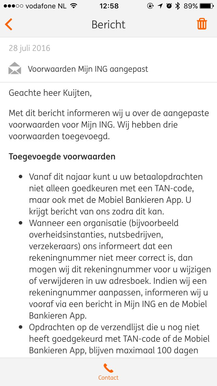Nieuwe voorwaarden in ING Mobiel Bankieren voor goedkeuren van betalingen.