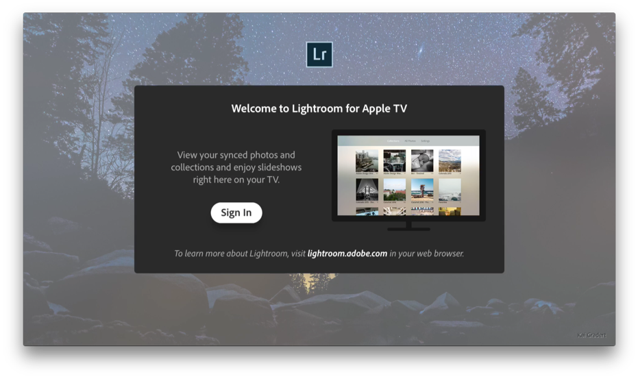 Inloggen in Lightroom op de Apple TV.