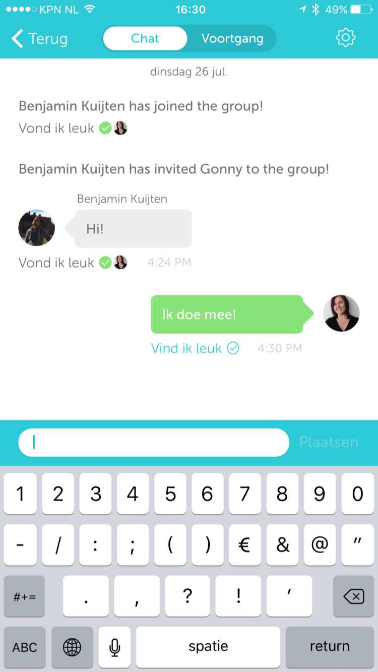 Chat in Runkeeper Rengroepen.
