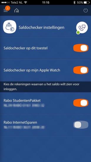 Apple Watch-app instellen in Rabo Bankieren.