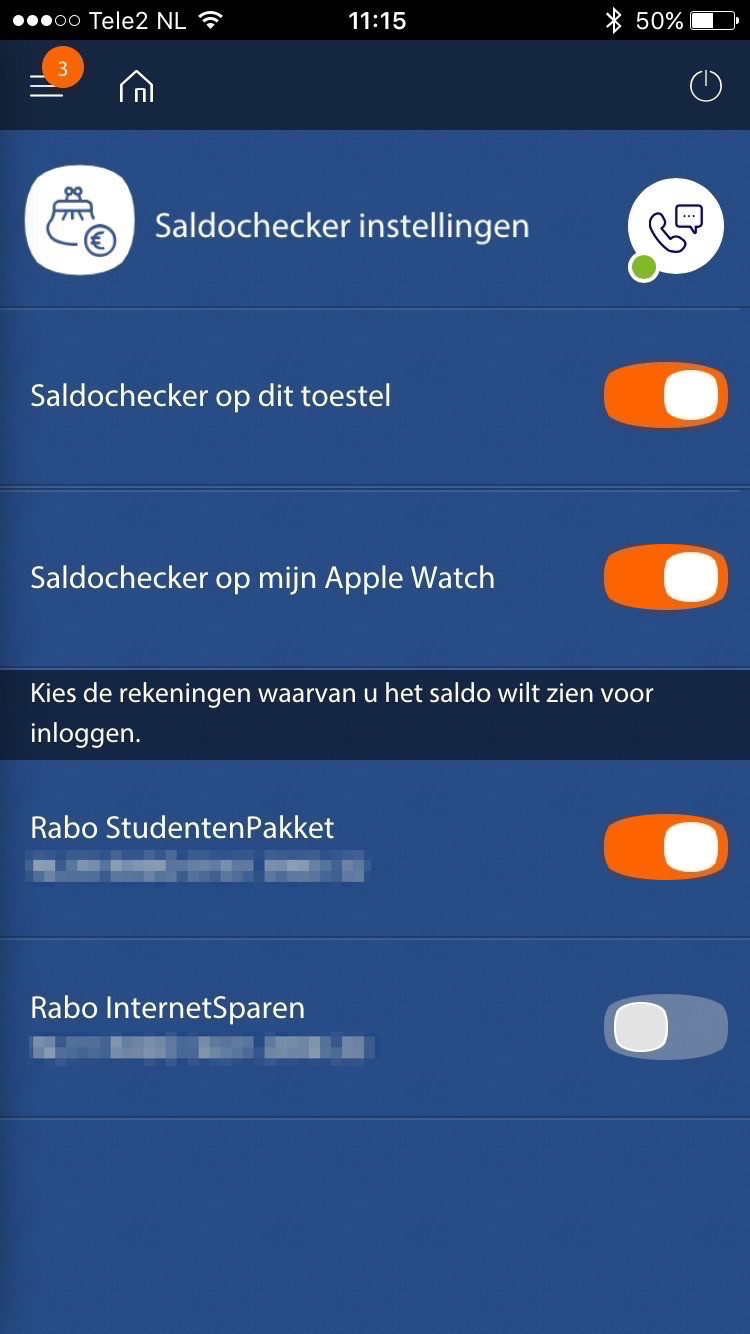 Apple Watch-app instellen in Rabo Bankieren.