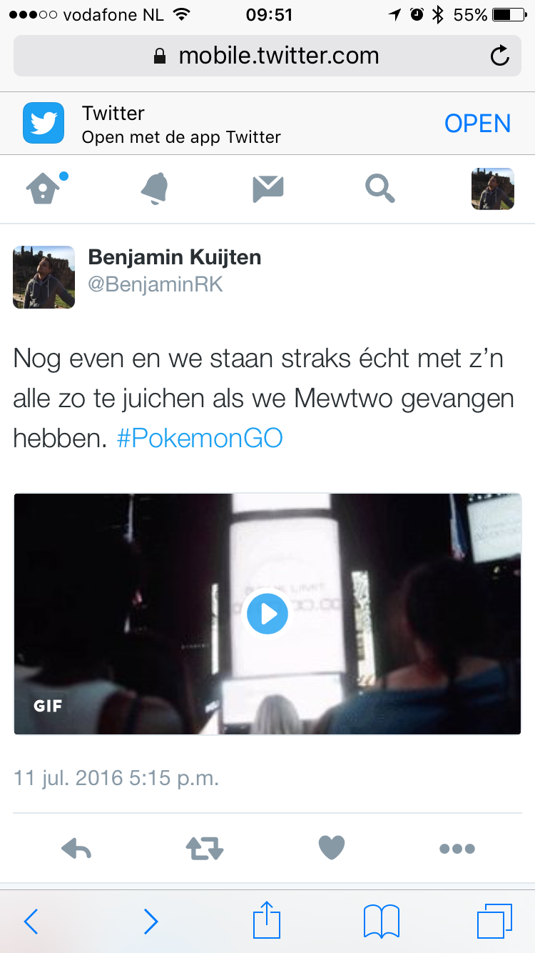 Safari in iOS 9 met een gif in een tweet.