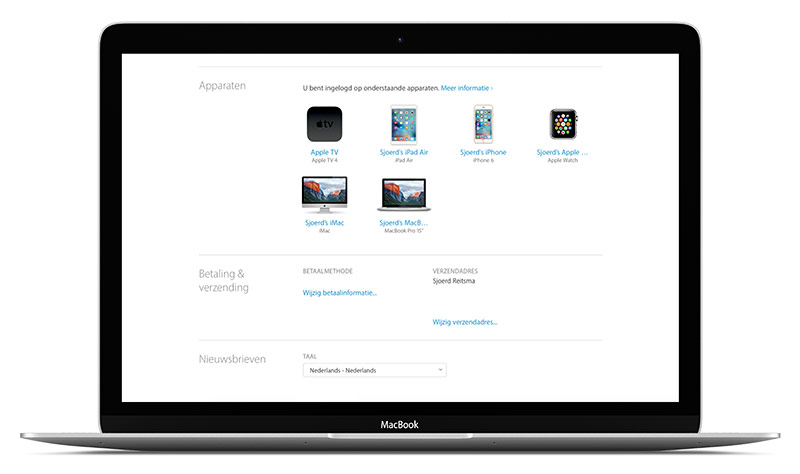 Apple ID - apparaten overzicht - MacBook