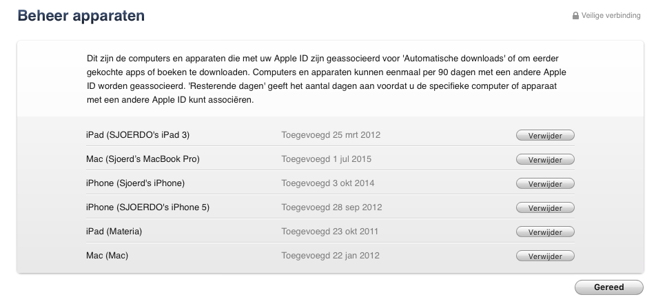 Apple ID - Beheer apparaten in iTunes
