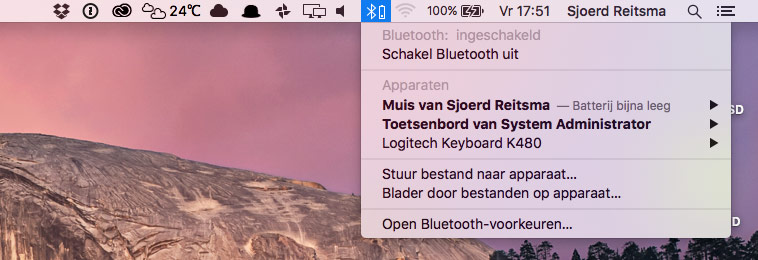 Bluetooth vanuit de statusbalk