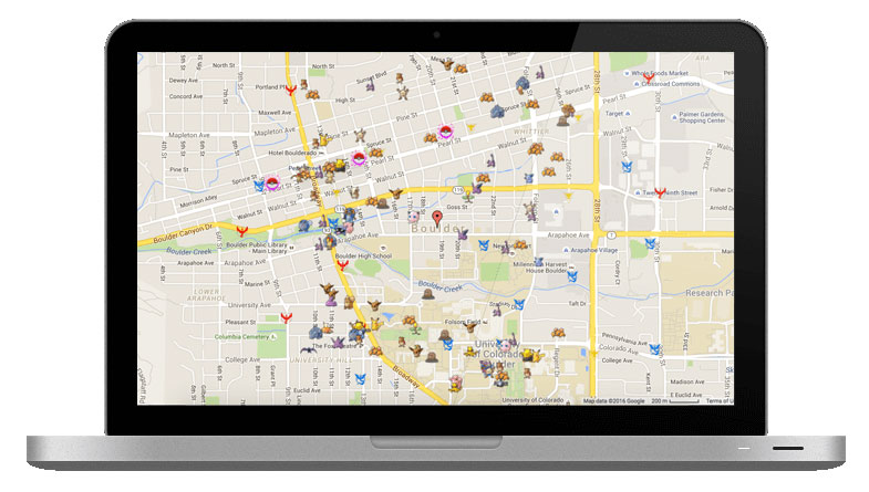 Pokemap op MacBook