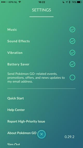 Pokemon instellingen