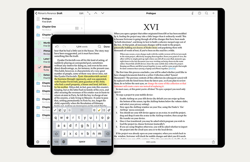 Scrivener-app voor iPhone en iPad