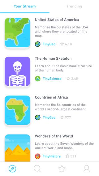 Tinycards: lijst met beschikbare onderwerpen