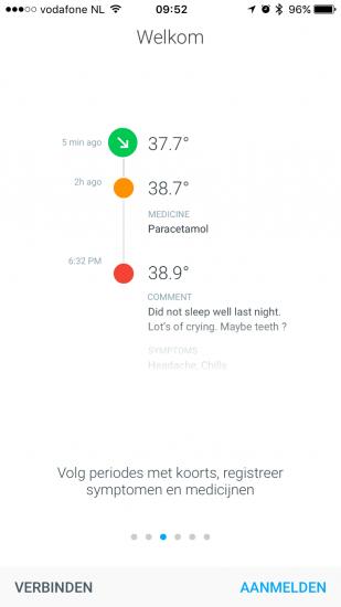 Withings Thermo-app met tijdlijn.