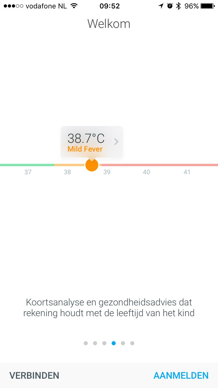 Withings Thermo-app met analyse van je temperatuur.