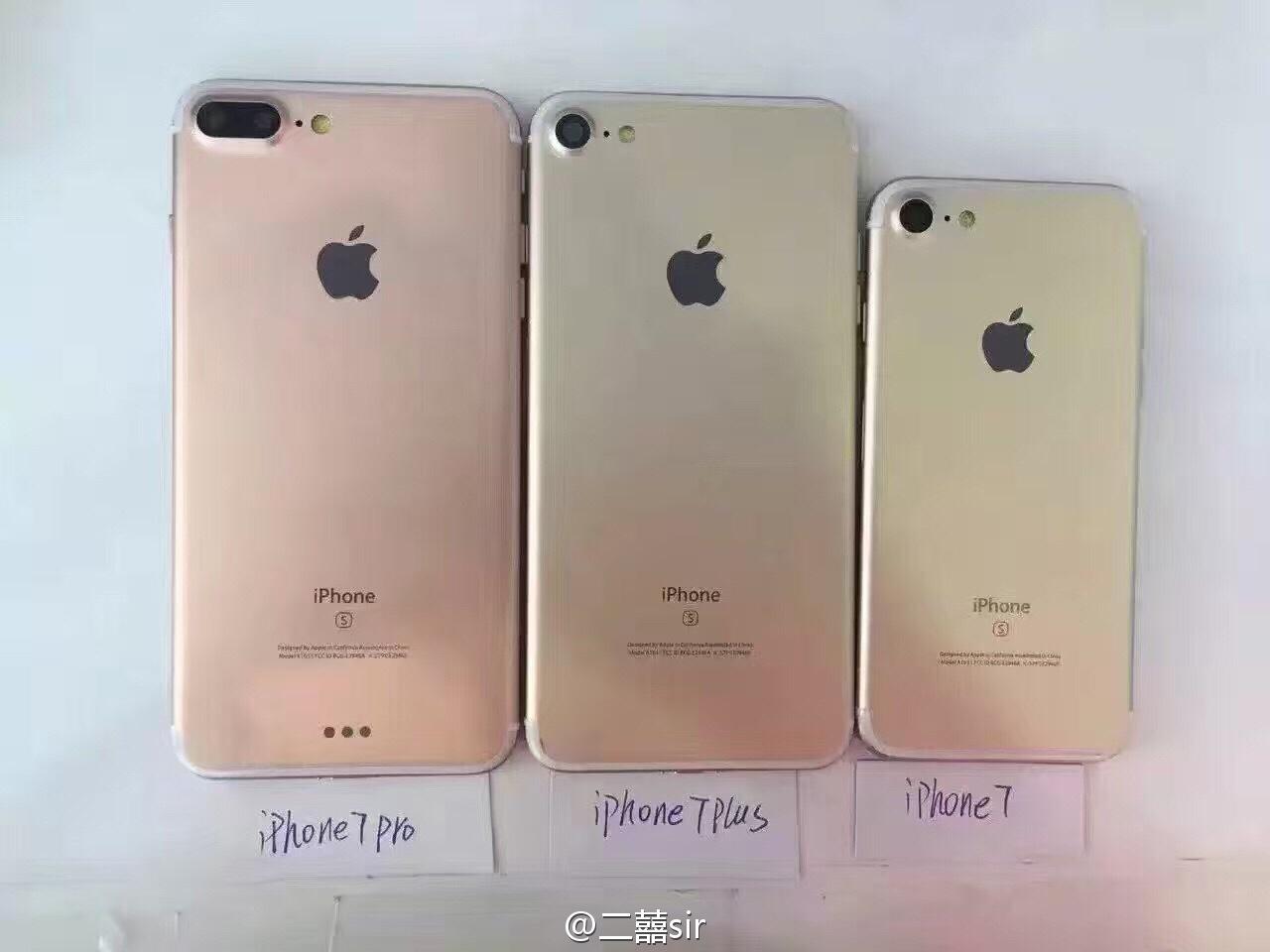Achterkant van mogelijke iPhone 7, iPhone 7 Plus en iPhon 7 Pro.