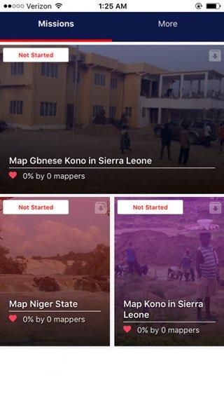 MapSwipe: gebied kiezen