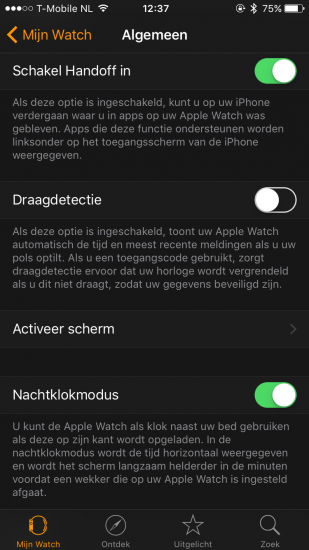 Apple Watch - draagdetectie uitschakelen