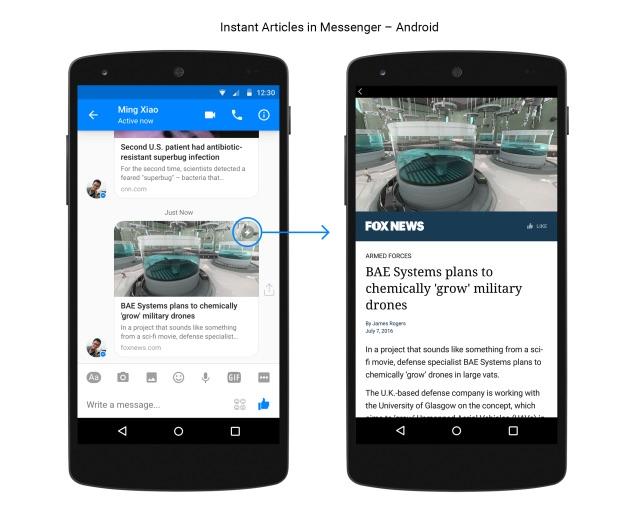 Facebook Messenger met Instant Articles.