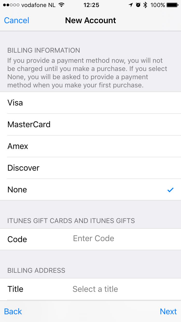 Betaalinformatie bij een nieuwe Apple ID in de App Store.
