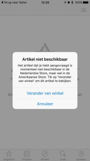 Wisselen van land in de App Store.