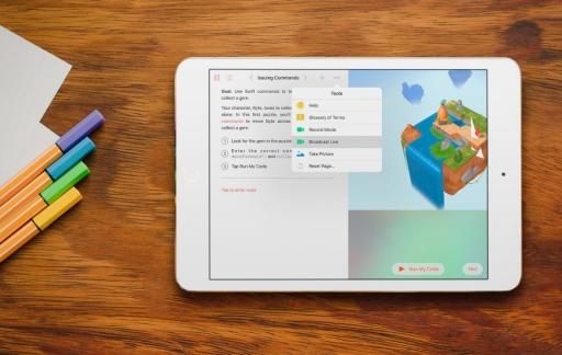 Swift Playground op de iPad laat je livestreamen.