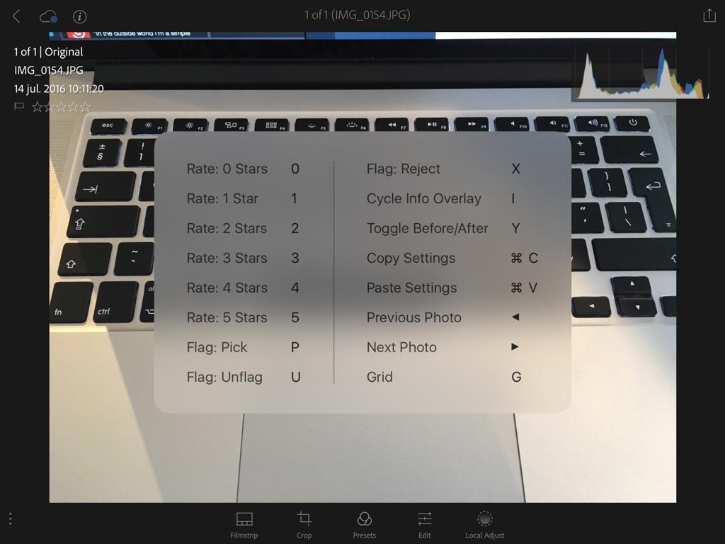 Adobe Photoshop Lightroom voor de iPad met toetsenbordkoppelingen.