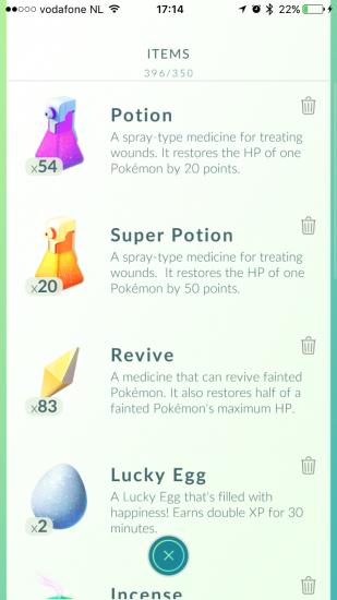 Meer items in Pokémon Go.