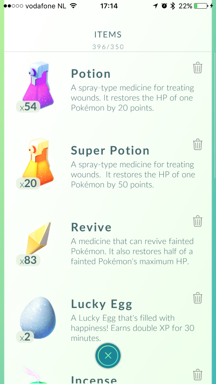Meer items in Pokémon Go.