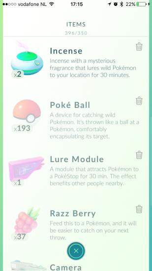 Items in Pokémon Go.