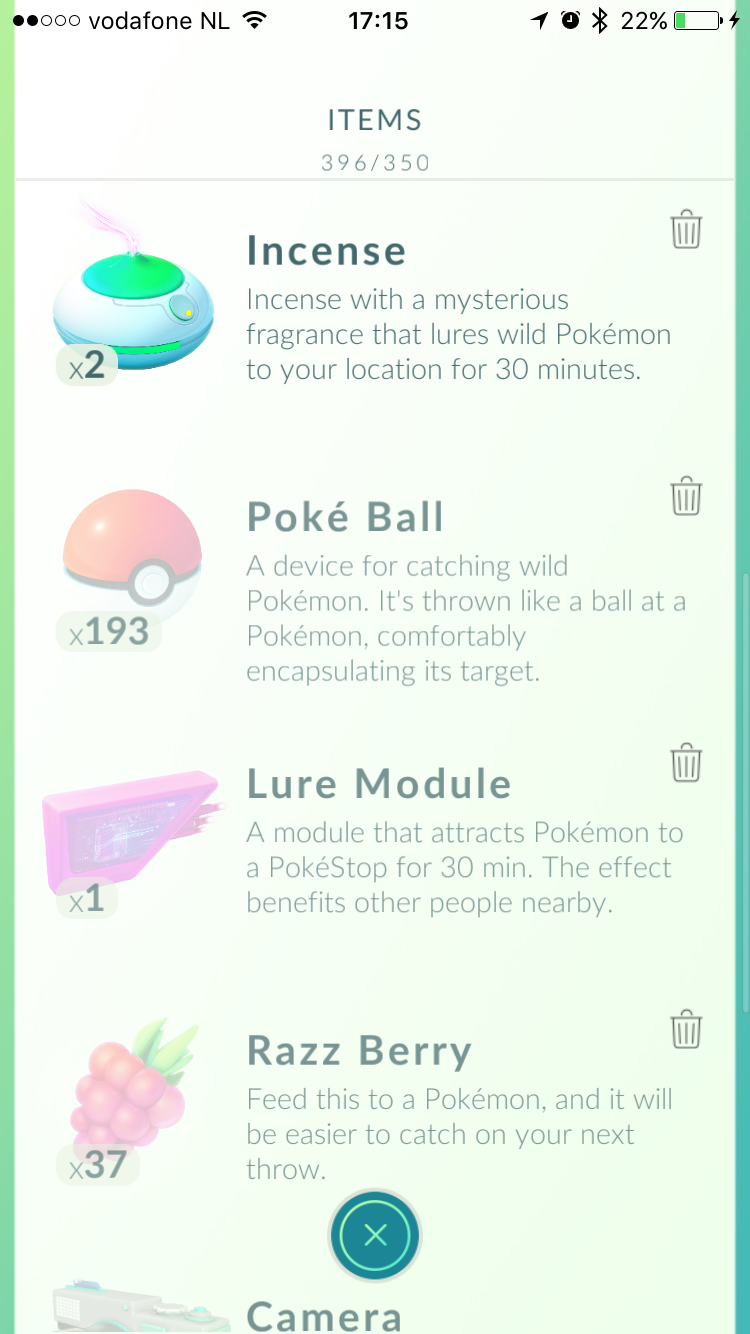 Items in Pokémon Go.