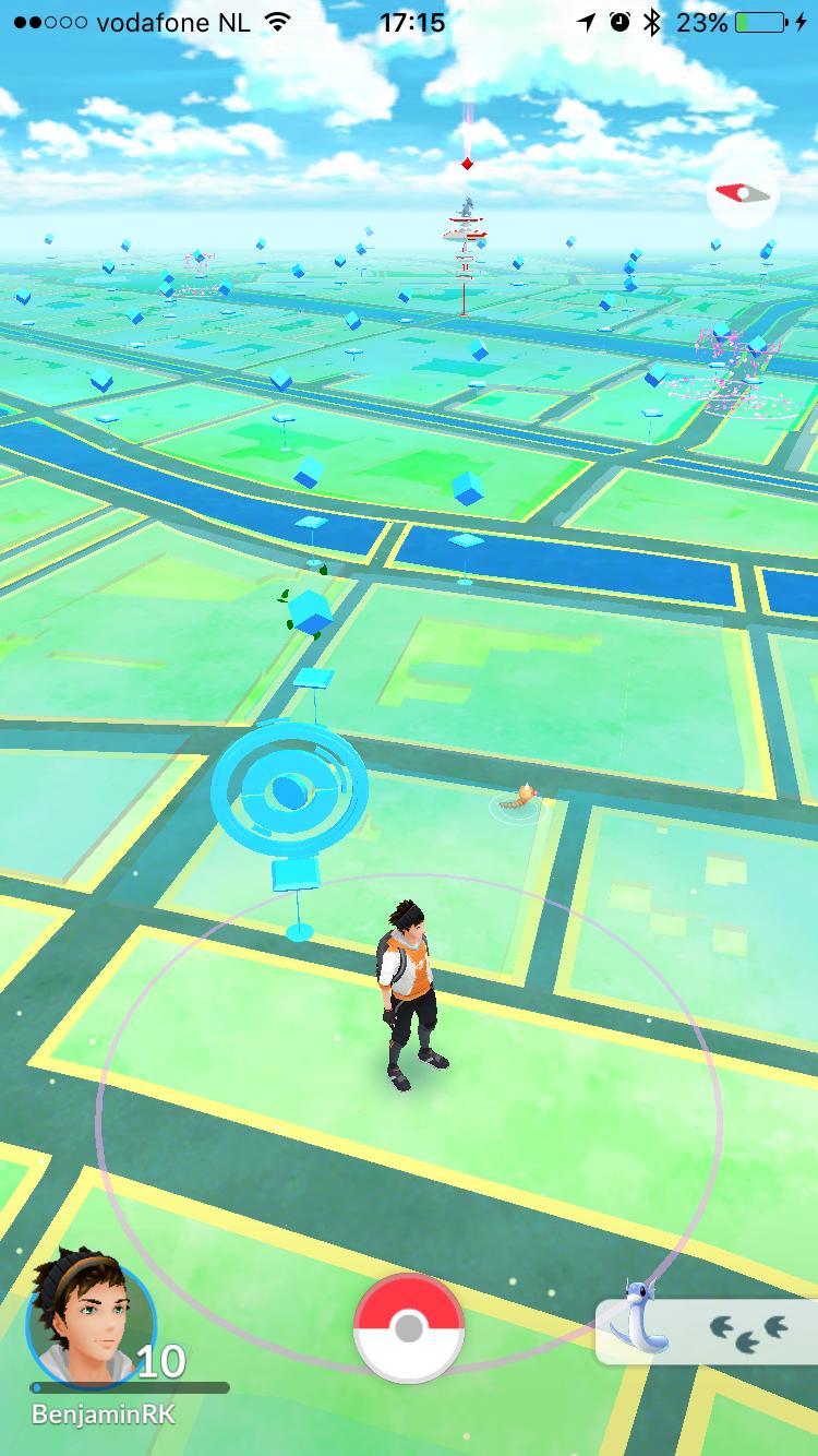 Pokémon Go met Pokémon dichtbij.